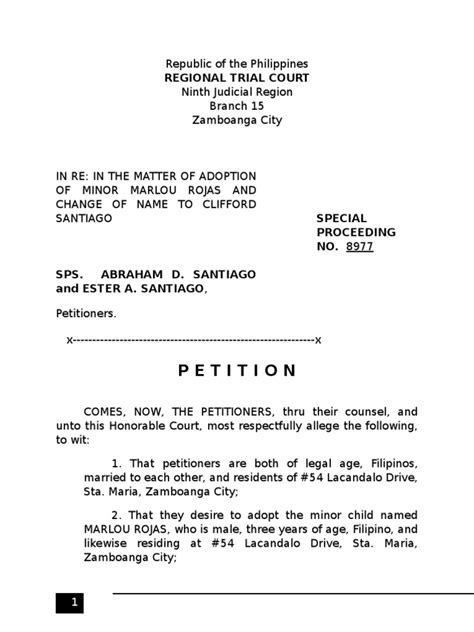 libro the adoption papers sle petition for adoption adoption child custody