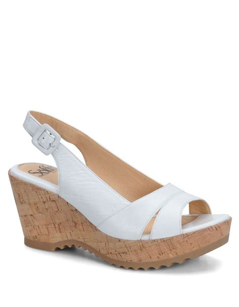 s 246 fft savina leather wedge sandals in white lyst