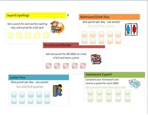 homework punch card template customizable homework pass