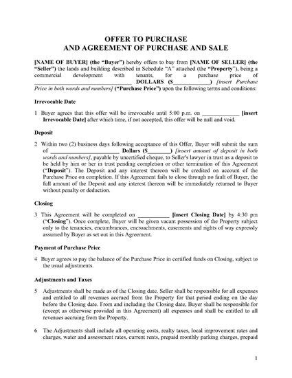 ontario purchase  sale agreement  commercial property legal forms  business templates
