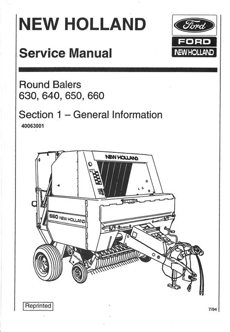 Ford New Holland 630 640 650 660 Large Round Baler Service