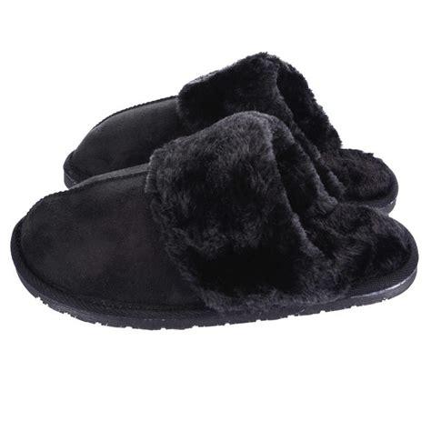black fur slippers cosy slip on snuggs faux fur sheepskin mule