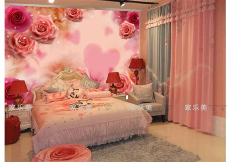wallpaper romantic pink endearment beauty mural wedding house bedroom bed wall