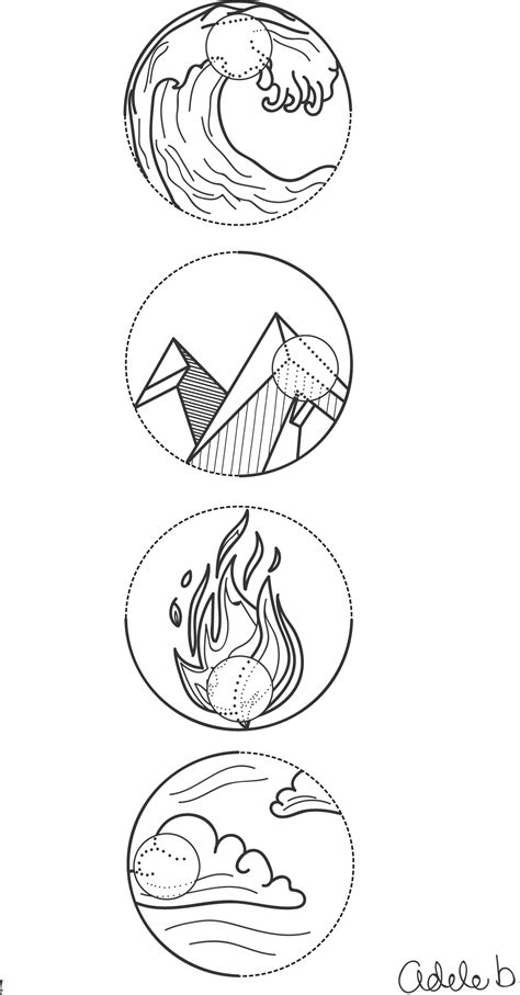 4 element symbols water earth fire and air tattoo idea