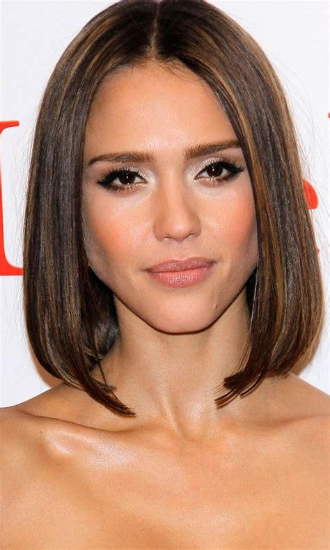 bob hairstyles just past shoulders short hairstyles your a list inspiration jessica alba