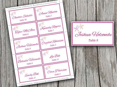 starfish wedding place cards microsoft word template