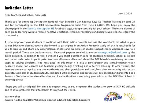 Invitation Letter Sle For Research Hs Research Study Concepcion
