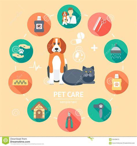 flat design poster vector pet care flat icon set pet care banner background