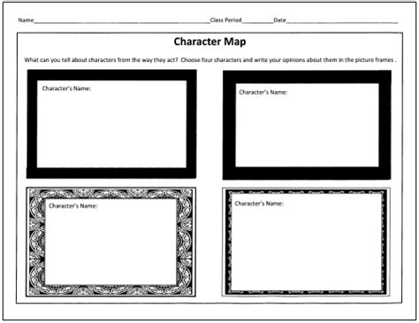 printable graphic organizer character map 25 language arts graphic organizers for you and your kids