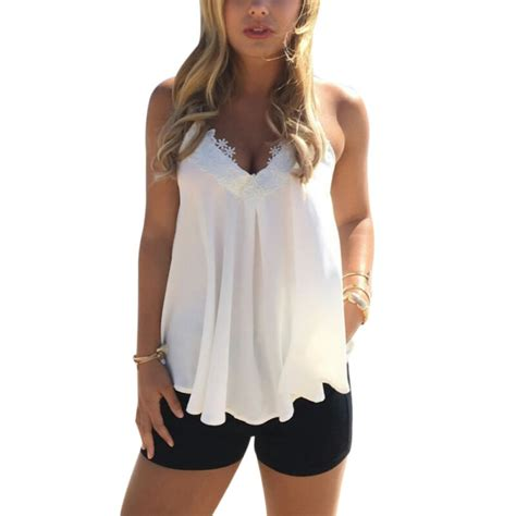 Casual Top fashion lace vest top sleeveless casual tank blouse