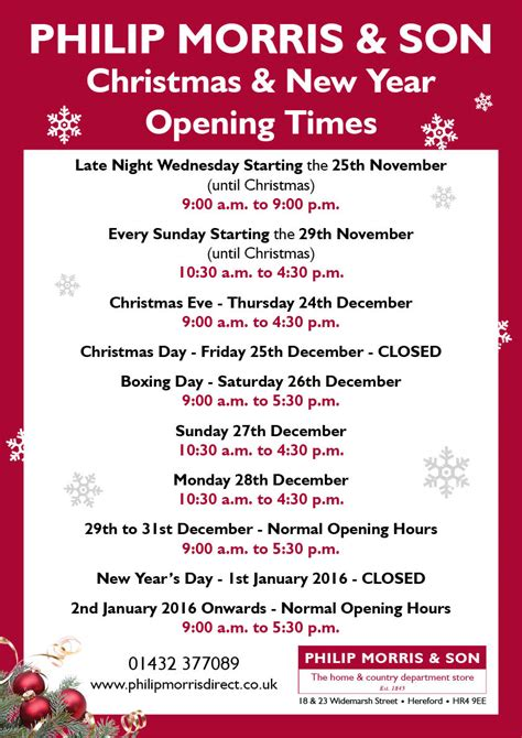party themes operating hours philip morris son christmas opening times philip