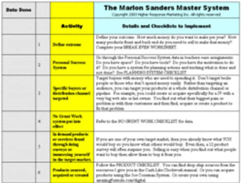 retail marketing plan template marlon sanders 12 week marketing success system