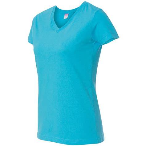 aqua color shirt lat 3507 s jersey v neck t shirt aqua