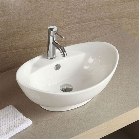 above the counter bathroom sinks decoraport white oval ceramic above counter vessel sink