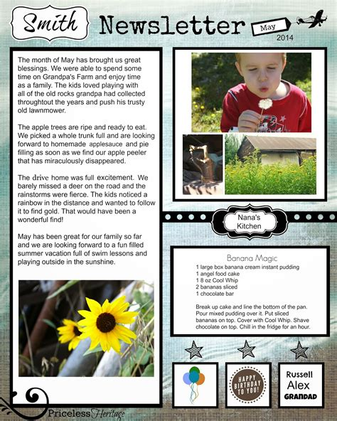 family newsletter template family tree template family history newsletter templates