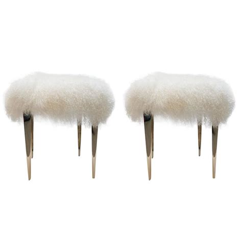 mongolian lamb ottoman pair of mongolian lamb stiletto ottomans for sale at 1stdibs