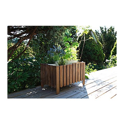 ikea outdoor planters askholmen flower box grey brown stained ikea