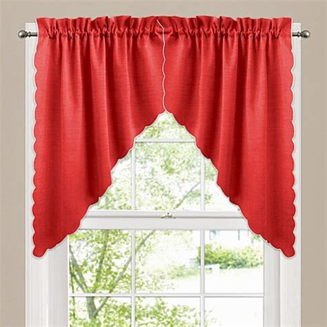 red bathroom window curtains victoria window curtain swag valance pair in red bed