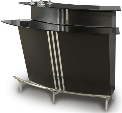 broadway black glass bar table in black indoor pub and