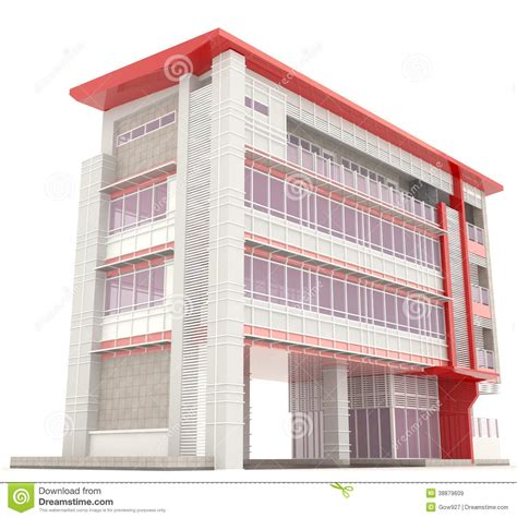 create a building side of 3d modern office building exterior stock