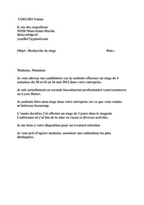 Lettre De Motivation Stage Vente Bac Pro Modele Lettre De Motivation Stage Bac Pro Vente Document