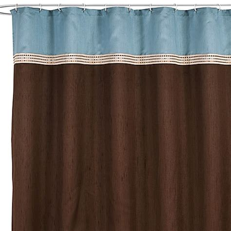 shower curtain brown and blue buy brown blue shower curtain from bed bath beyond