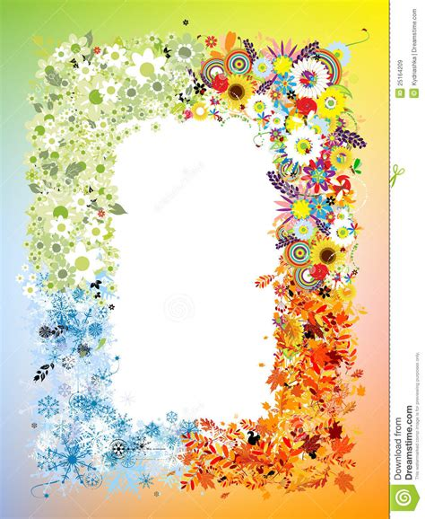 four seasons frame stock vector image of environment