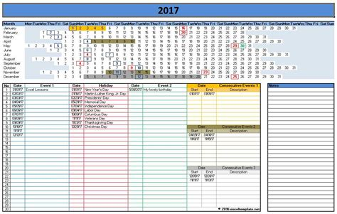 2017 Calendar Templates Microsoft And Open Office Templates Excel Calendar 2017 Template