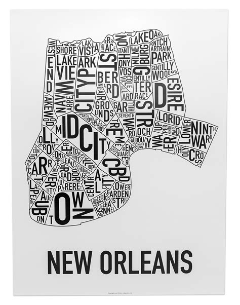 washington dc neighborhood map poster new orleans neighborhood map 18 quot x 24 quot classic black