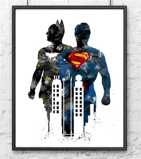 superman home decor batman vs superman watercolor print batman art by