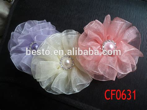 Handmade Fabric Flowers For Sale - cf 0909 sale wedding bead center chiffon ruffled