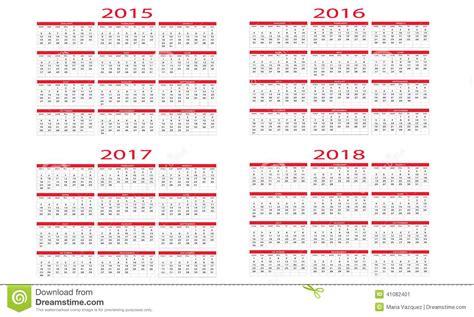 Calendrier 2018 Almanach Calendar 2015 To 2018 Stock Vector Image Of Annual