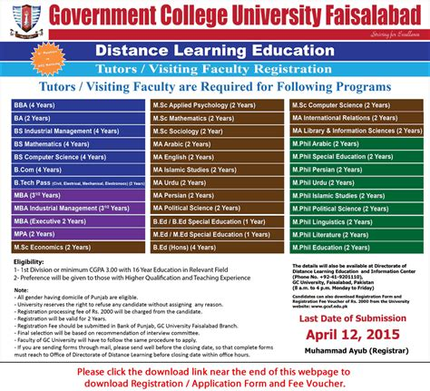 Distance Learning Mba In Pakistan by Gc Faisalabad 2015 April Visiting Faculty