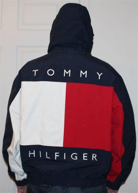 vintage tommy hilfiger big logo reversible jacket size