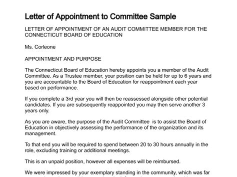appointment letter committee member letter of appointment