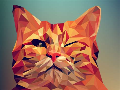 wallpaper poly cat download 1152x864 wallpaper cat wink low poly abstract
