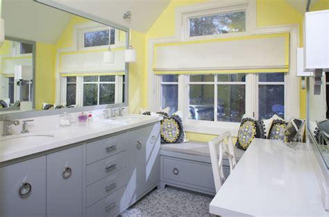Yellow And Gray Bathroom Wall