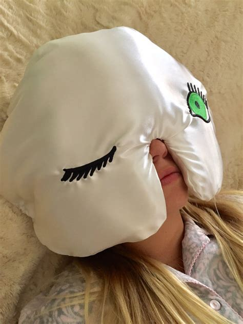 Sleeping Helmet Pillow by Winkzzz Sleep Mask Pillow In Ivory With Blue Brown Or Green