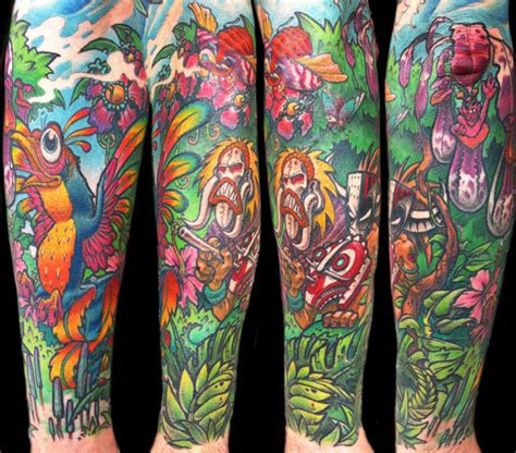 colorful sleeve tattoos colorful sleeve by delaine gilma design of