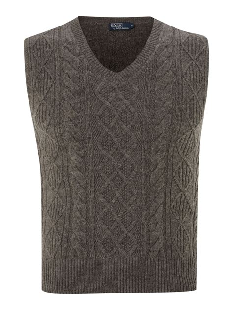 grey knit vest polo ralph cable knit wool vest in gray for lyst