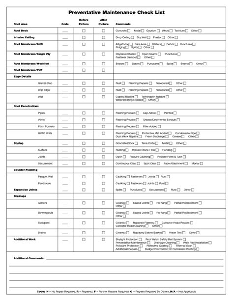 preventive maintenance form template search results for maintenance checklist template