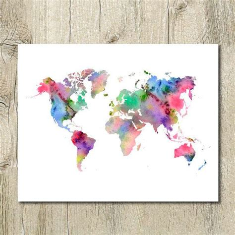 wall decor maps printable watercolor world map wall decor instant