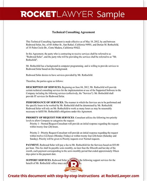 technical service agreement template consulting agreement for technical services contract