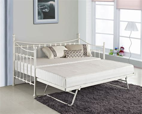 Glossy vanilla day bed versailles cream with without trundle mattresses new ebay