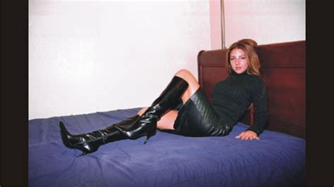 graceful black leather skirt and boots