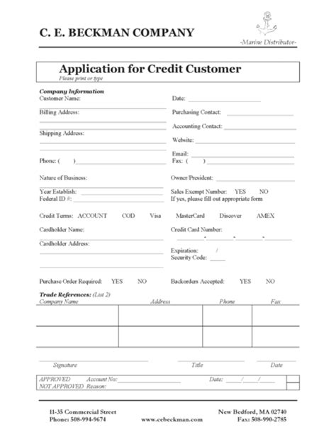 Tax Credit Application Form Pdf C E Beckman Company Marine Wholesale Service Station