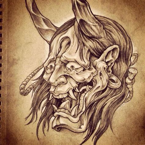 oni mask tattoo designs oni mask drawing search hannya