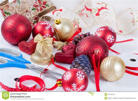 christmas tree decorated preparation stock photo image