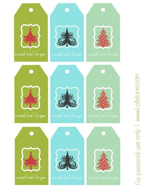 printable sheet of christmas tags christmas tree treat free gift tag printable