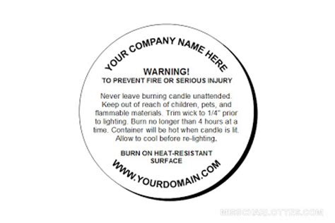 Miss Charlotte S Handmade Crafts Customized Candle Warning Round Labels Warning Label Template Free